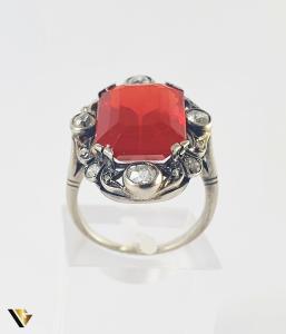 Inel Aur 14k, Carnelian si Diamante de cca 0.30 ct in total, 4.66 grame (S)1