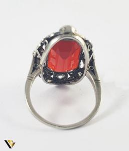 Inel Aur 14k, Carnelian si Diamante de cca 0.30 ct in total, 4.66 grame (S)3