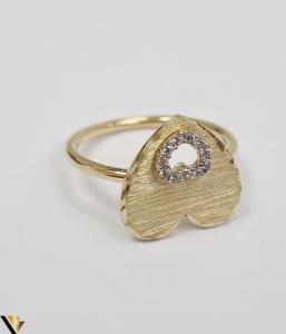 """Inel din aur 14k, 585 2.75 grame Latime inelului la partea superioara este de 4 mm Diametrul inelului este de 17.5 mm Masura standard RO: 55 si UE: 15 Marcaj cu titlul """"585"""" Locatie Harlau [2]"""