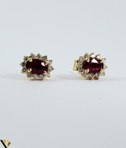 Cercei aur 9k, Diamante 0,24 ct, Spinel, 1,25 gr (sed)1