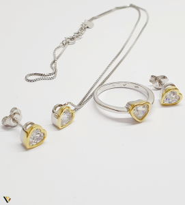 Set Argint Cercei, Pandantiv , Lant si Inel, 7.82 grame (BC M)0