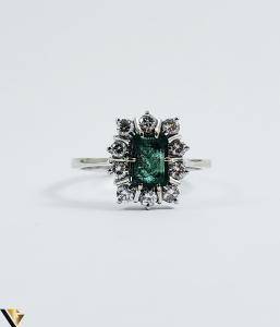 Inel aur 18 k, Diamante cca 0.50 ct in total, Smarald, 3.32 gr (SED)1