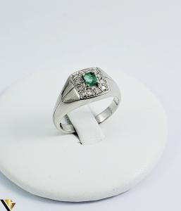 Inel Aur 18k, Diamante cca 0.18 ct in total, Smarald, 5.37 grame (Sed)0