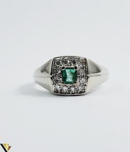 Inel Aur 18k, Diamante cca 0.18 ct in total, Smarald, 5.37 grame (Sed)1