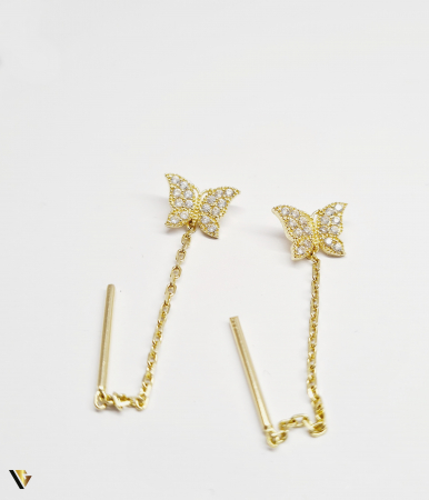 Cercei cu lant Aur 14K, Fluture, 1.72 grame (BC M)1
