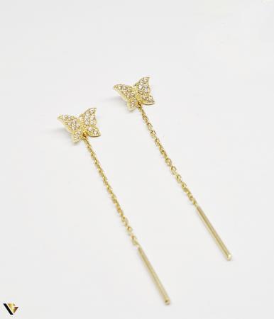 Cercei cu lant Aur 14K, Fluture, 1.72 grame (BC M)0