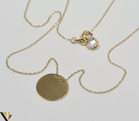 """Lant din aur 14k, 585 1.87 grame Lungime de 42 cm Dimensiunile pandativului 13mm/13mm Latime de 0.45 mm Marcaj cu titlul """"585"""" Locatie HARLAU [2]"""