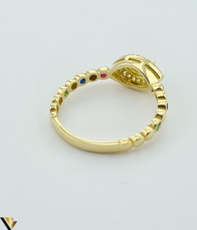 """Inel din aur 14k, 585 2.24 grame Latime inelului la partea superioara este de 6.3 mm Diametrul inelului este de 17.5mm Masura standard RO: 55 si UE: 15 Marcaj cu titlul """"585"""" Locatie Harlau [3]"""