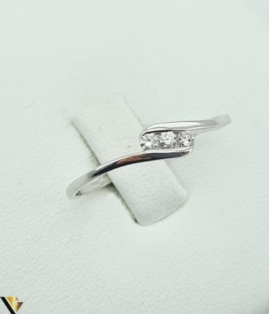 Inel Aur Alb 9k, Diamante de cca. 0.09 ct, 1.06 grame (R) [2]