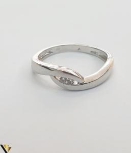 Inel cu diamante de cca. 0.04 ct, din aur alb 14k, 2.47 grame(H)2