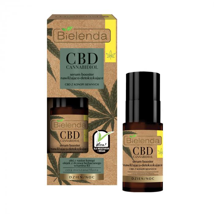 CBD CANNABIDIOL Ser booster hidratant si detoxifiant cu canabidiol CBD din seminte de canepa pentru ten mixt si gras 15ml [0]