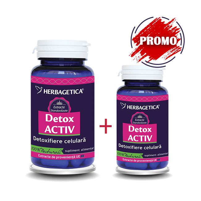 Detox Activ Herbagetica 60cps+10cps Pachet 1+1 Promo 0