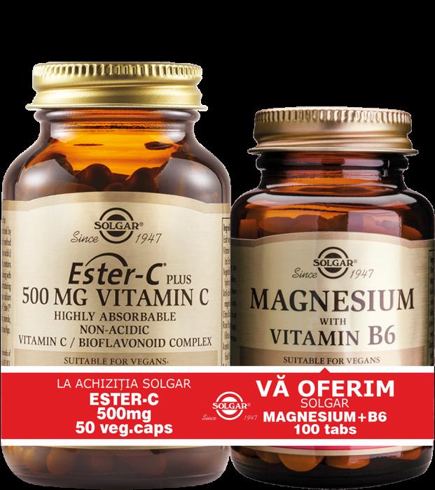 Pachet Ester-C 500mg 50cps + Magnesium cu B6 100 tablete CADOU [0]