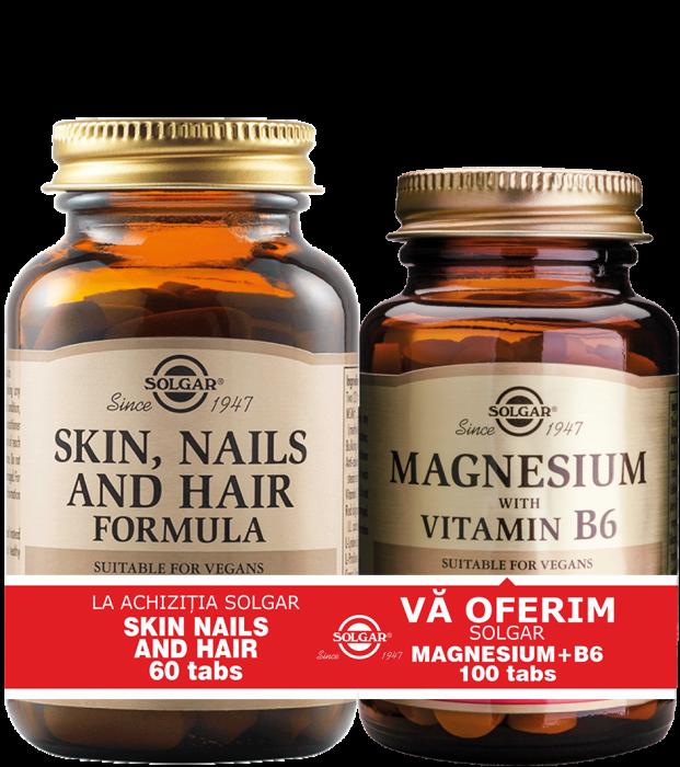 Pachet Skin Nails and Hair Formula 60 tablete + Magnesium cu B6 100 tablete CADOU [0]