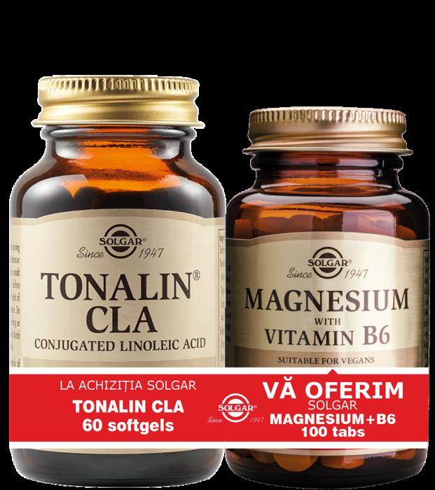 Pachet Tonalin CLA 1300mg 60cps + Magnesium cu B6 100 tablete CADOU [0]