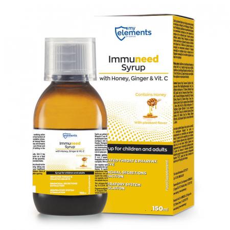 Immuneed Syrup - Sirop pentru gat iritat cu gust placut de Miere & Ghimbir 150ml [1]