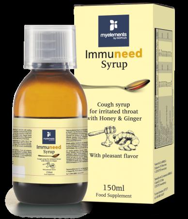Immuneed Syrup - Sirop pentru gat iritat cu gust placut de Miere & Ghimbir 150ml [0]