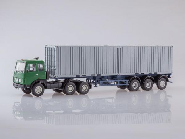 Macheta camion MAZ6422 cu semiremorca transcontainer MAZ928920, scara 1:43 0