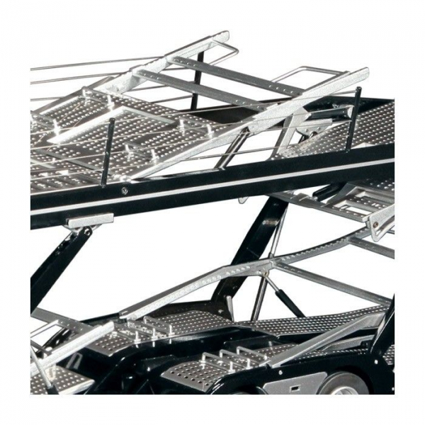 Macheta camion Mercedes Actros cu semiremorca transport auto, scara 1:18 4