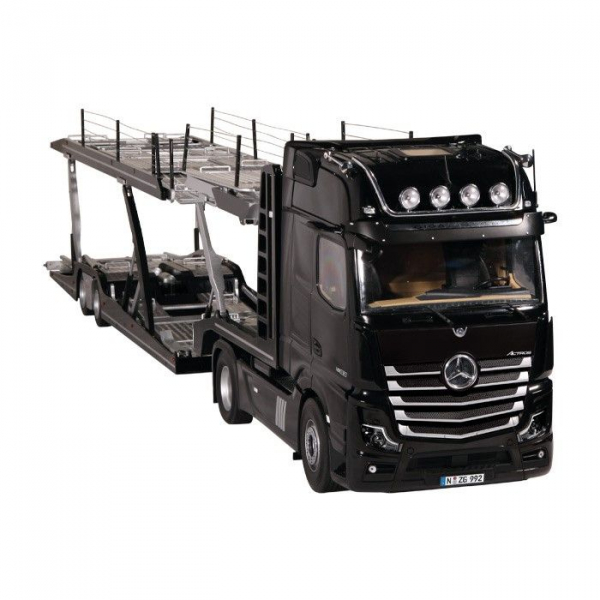 Macheta camion Mercedes Actros cu semiremorca transport auto, scara 1:18 0