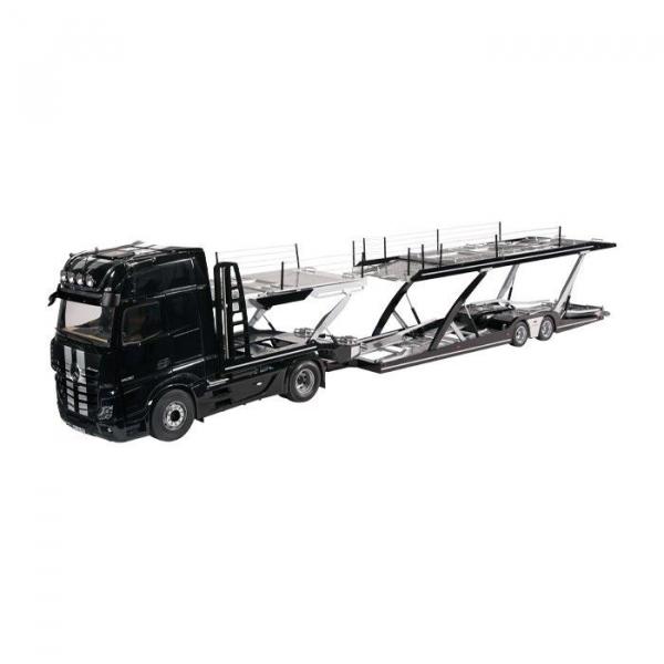 Macheta camion Mercedes Actros cu semiremorca transport auto, scara 1:18 1