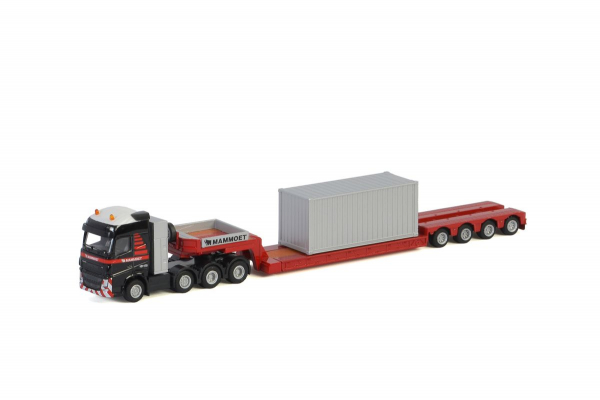 Macheta camion Volvo FH4 Globetrotter cu trailer telescopic si container, scara 1:87 0