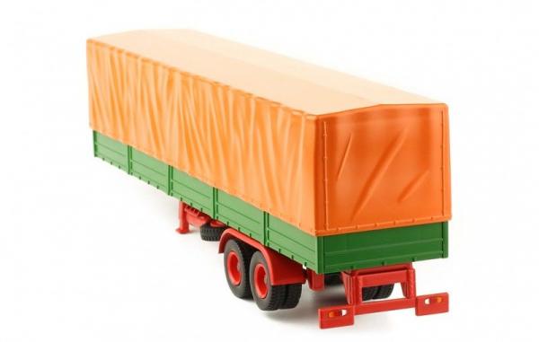Macheta semiremorca cu prelata, verde/portocaliu, scara 1:43 2