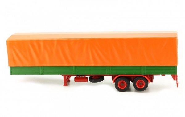 Macheta semiremorca cu prelata, verde/portocaliu, scara 1:43 1
