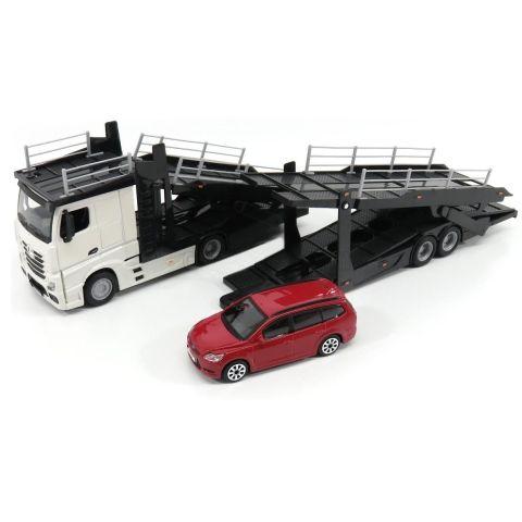 Macheta transportor auto Mercedes Actros si Ford Focus, scara 1:43 1