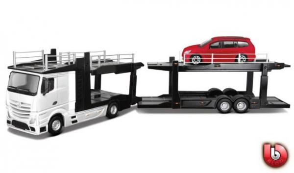 Macheta transportor auto Mercedes Actros si Ford Focus, scara 1:43 0