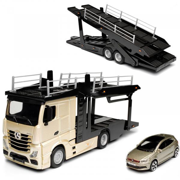 Macheta transportor auto Mercedes Actros si Volkswagen Polo, scara 1:43 [1]