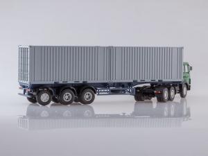 Macheta camion MAZ6422 cu semiremorca transcontainer MAZ928920, scara 1:434