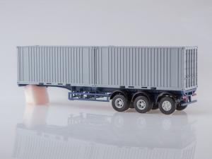 Macheta camion MAZ6422 cu semiremorca transcontainer MAZ928920, scara 1:431