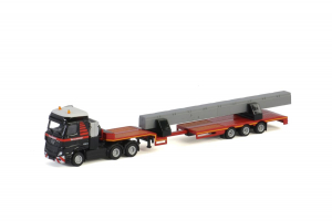 Macheta camion Mercedes Actros MP4 cu trailer telescopic si grinda, scara 1:870