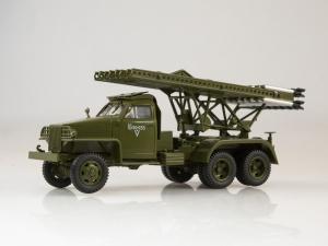 Macheta camion Studebaker cu lansator de rachete BM-13  Katiusa, scara 1;430
