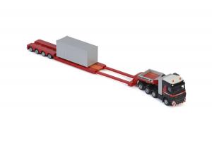 Macheta camion Volvo FH4 Globetrotter cu trailer telescopic si container, scara 1:873