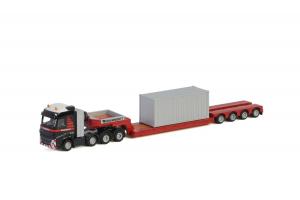 Macheta camion Volvo FH4 Globetrotter cu trailer telescopic si container, scara 1:870