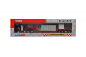 Macheta camion Volvo FH4 Globetrotter cu trailer telescopic si container, scara 1:874