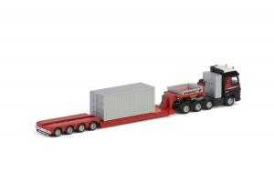 Macheta camion Volvo FH4 Globetrotter cu trailer telescopic si container, scara 1:871