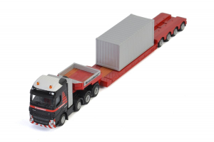 Macheta camion Volvo FH4 Globetrotter cu trailer telescopic si container, scara 1:872