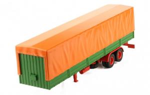 Macheta semiremorca cu prelata, verde/portocaliu, scara 1:430