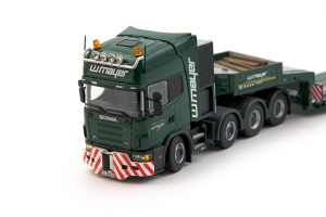 Macheta camion Scania 164C 8x4 cu trailer Goldhofer, scara 1:502