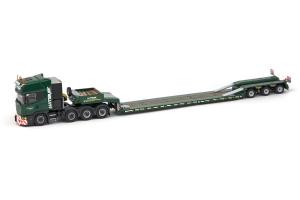 Macheta camion Scania 164C 8x4 cu trailer Goldhofer, scara 1:500