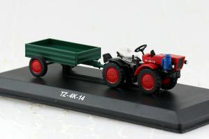 Macheta tractor TZ 4K-14 cu remorca, Cehoslovacia, scara 1:430