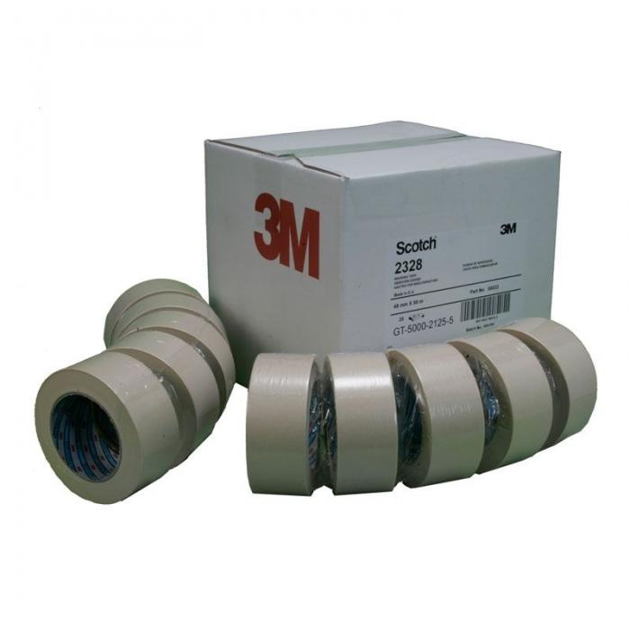 Banda mascare hartie 3M 2328 Scotch®, rezista pana la 80 °C, culoare crem, lungime 50 metri 1
