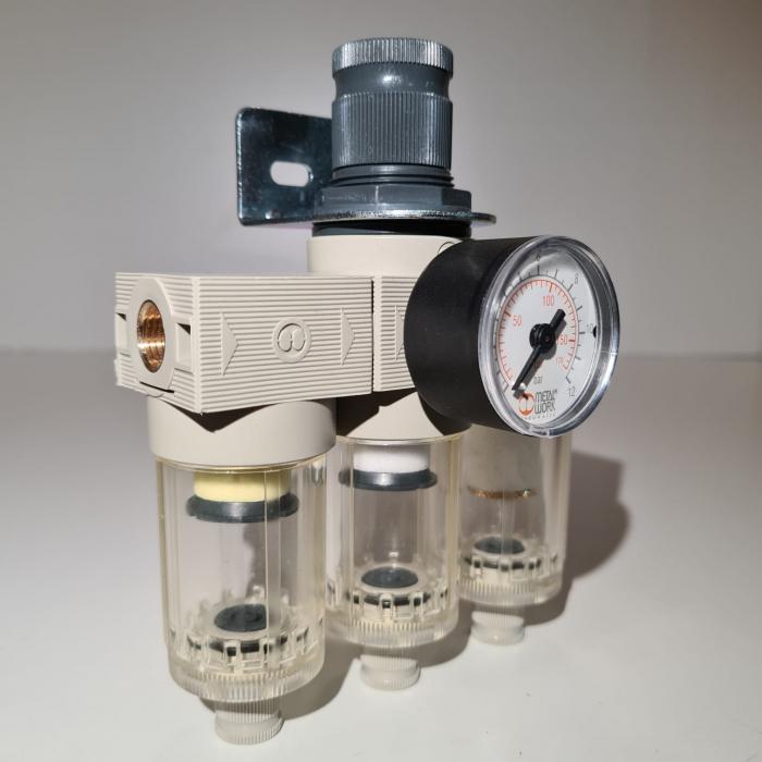 Baterie filtrare aer comprimat, MW A300, filtrare aer vopsitorie cu regulator, baterie 3 filtre, pana la 0.01 microni, debit 200 l/min [4]