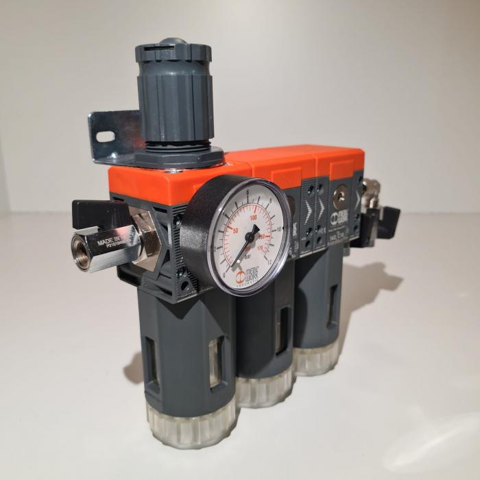 Baterie filtrare aer comprimat, MW B300, filtrare aer vopsitorie cu regulator, baterie 3 filtre, pana la 0.003 microni cu carbon activ, debit 800 l/min [4]