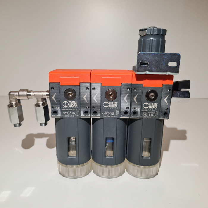 Baterie filtrare aer comprimat, MW B300, filtrare aer vopsitorie cu regulator, baterie 3 filtre, pana la 0.003 microni cu carbon activ, debit 800 l/min [3]