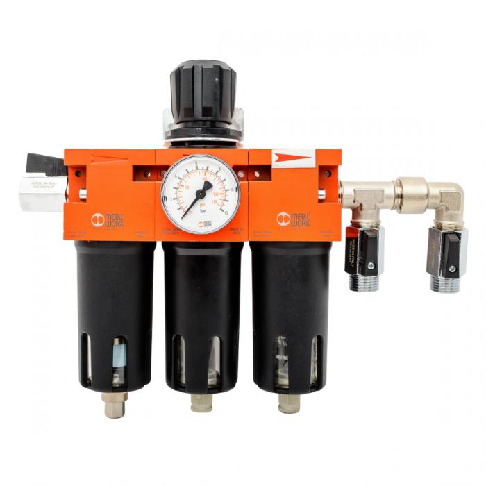 Baterie filtrare aer comprimat, MW C300, filtrare aer vopsitorie cu regulator, baterie 3 filtre, pana la 0.003 microni cu carbon activ, debit 800 l/min [0]