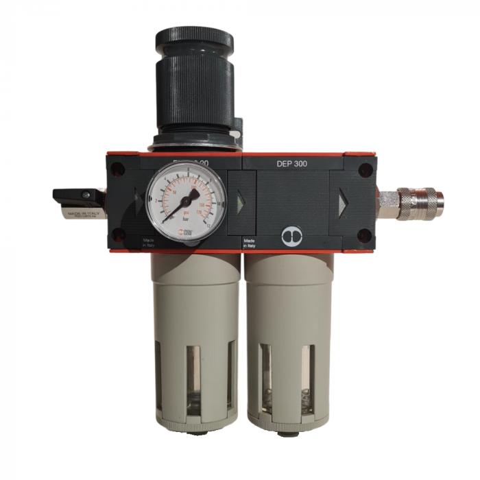 Baterie filtrare aer comprimat, MW D200, filtrare aer vopsitorie cu regulator, baterie 2 filtre, pana la 0.01 microni, debit 1100 l/min [0]